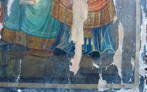 Иконата Св. Св. Кирил и Методий детайл преди реставрация-3