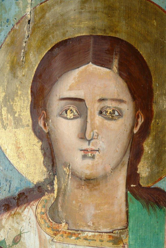 Иконата Св. Стефан - детайл по време на реставрация