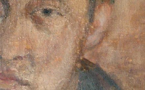 Картината Автопортрет - автор Никола Маринов - детайл след реставрация