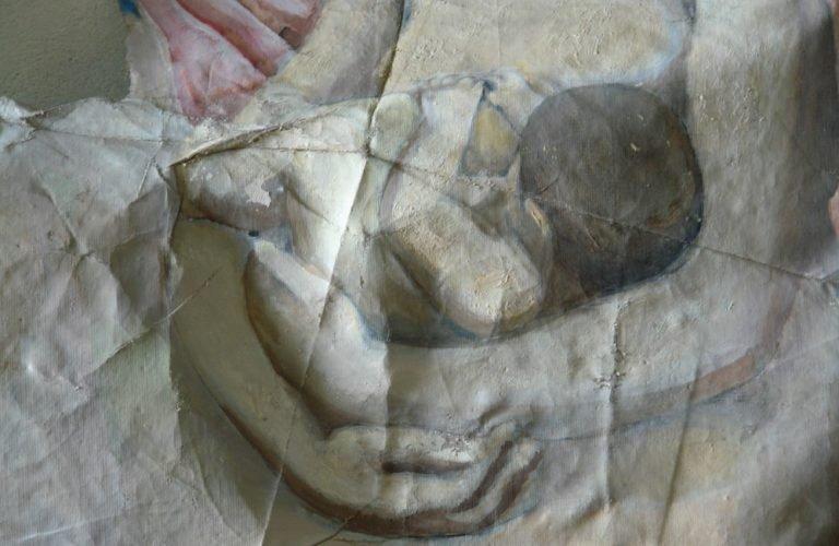 Картината Мадона - автор Иван Ненов - детайл преди реставрация-4