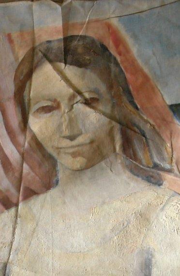 Картината Мадона - автор Иван Ненов - детайл преди реставрация