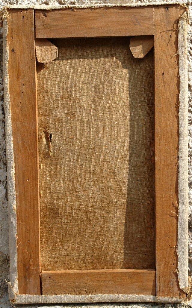 Картината Селянка - автор Стефан Баджов - гръб преди реставрация