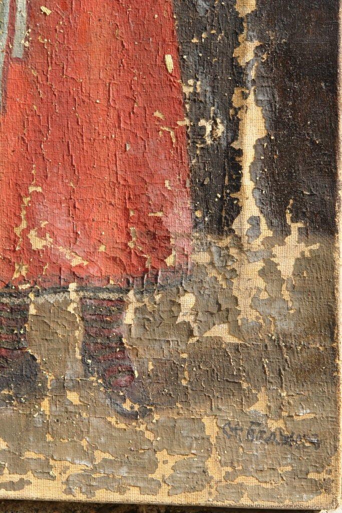Картината Селянка - автор Стефан Баджов - детайл преди реставрация-2