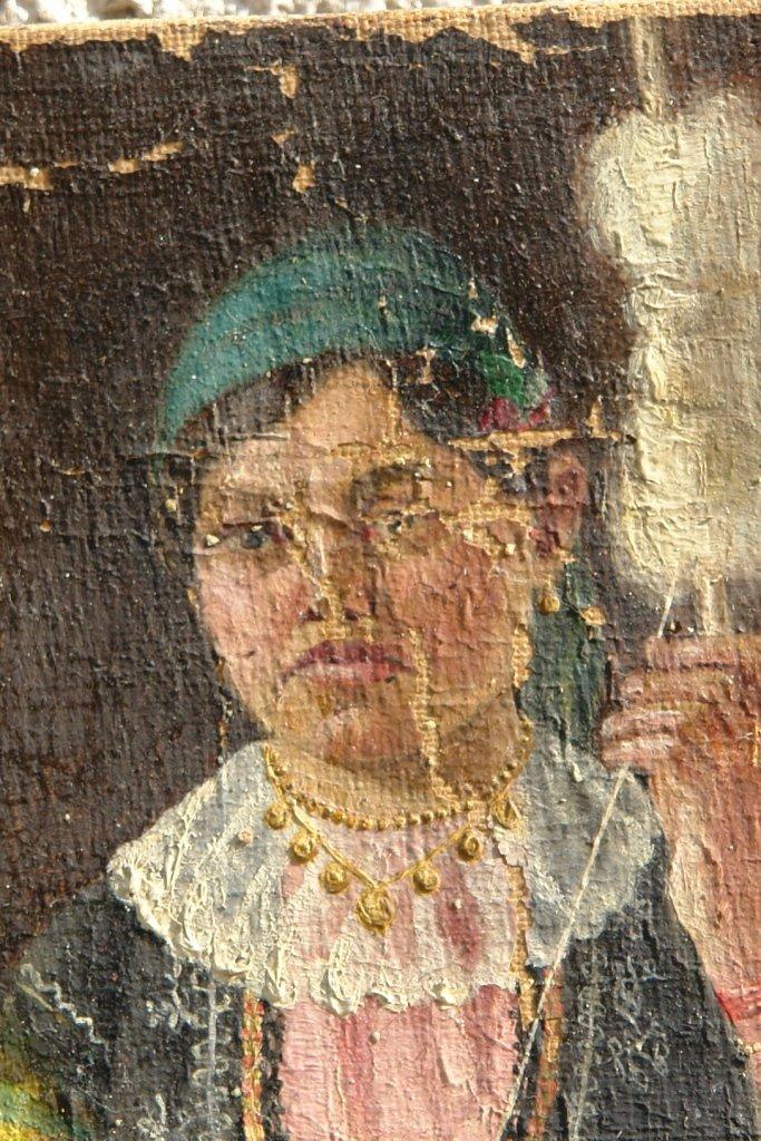 Картината Селянка - автор Стефан Баджов - детайл преди реставрация-3