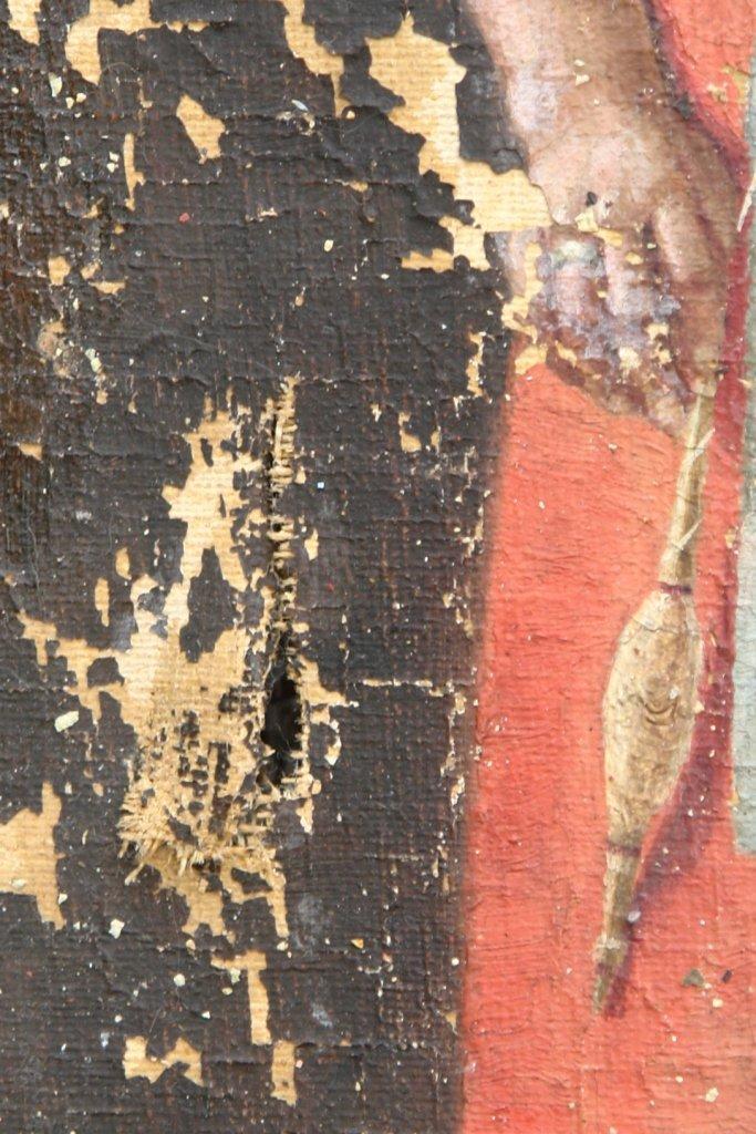 Картината Селянка - автор Стефан Баджов - детайл преди реставрация