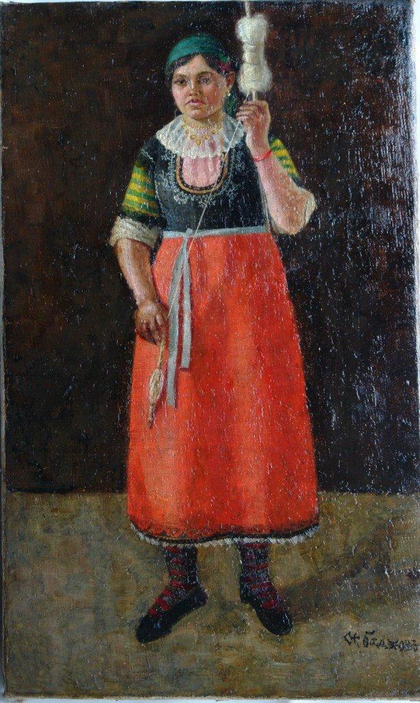 Картината Селянка - автор Стефан Баджов - след реставрация