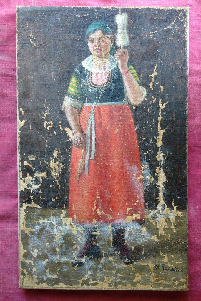 Картината Селянка - преди реставрация - нормално осветление