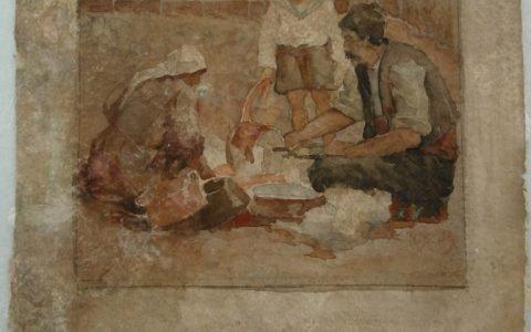 Рисунката Калайджия - автор Ив. Мърквичка, по време на реставрация
