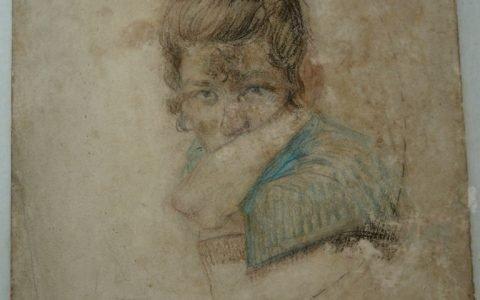 Рисунката Портрет на момиче - косо осветление след реставрация