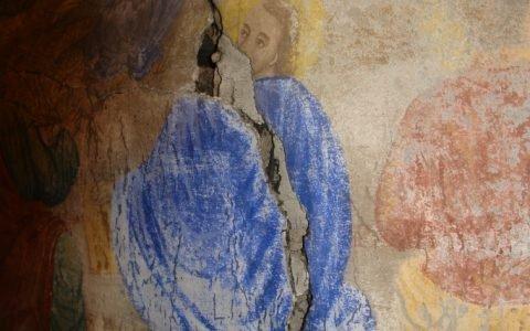 Северната стена в хр. Св. Теодор-Тирон преди реставрация - детайл-2