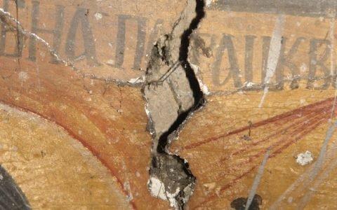 Северната стена в хр. Св. Теодор-Тирон преди реставрация - детайл-5